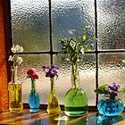 Little Green Bottles Sitting in the Window by Gabrielle  Lees