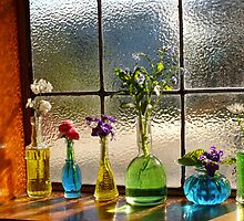 Little Green Bottles Sitting in the Window by Gabrielle  Lees