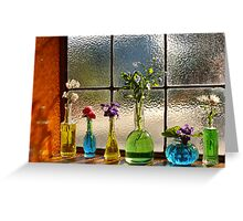 Little Green Bottles Sitting in the Window Greeting Card