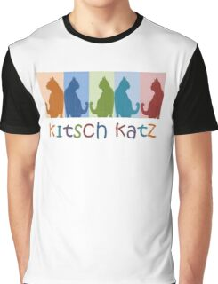 Kitsch Cats Silhouette Cat Collage On Pastel Background Graphic T-Shirt