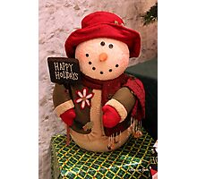 Happy Snowman ~ Warm and Snug Photographic Print
