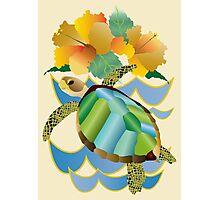 Pretty Sea Turtle Tropical Yellow Hibiscus Flowers Photographic Print