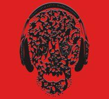 °ღ♫Cool Vintage Feel Skull Listening to Music Clothing & Stickers♪ღ° One Piece - Short Sleeve