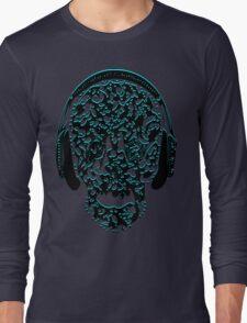 °ღ♫Cool Vintage Feel Skull Listening to Music Clothing & Stickers♪ღ° Long Sleeve T-Shirt