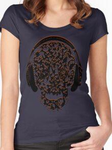 °ღ♫Cool Vintage Feel Skull Listening to Music Clothing & Stickers♪ღ° Women's Fitted Scoop T-Shirt