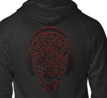 °ღ♫Cool Vintage Feel Skull Listening to Music Clothing & Stickers♪ღ° Zipped Hoodie