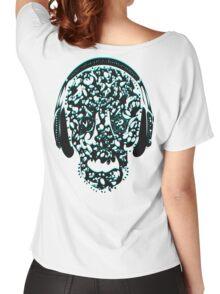°ღ♫Cool Vintage Feel Skull Listening to Music Clothing & Stickers♪ღ° Women's Relaxed Fit T-Shirt