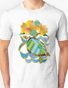 Pretty Sea Turtle Tropical Yellow Hibiscus Flowers Unisex T-Shirt