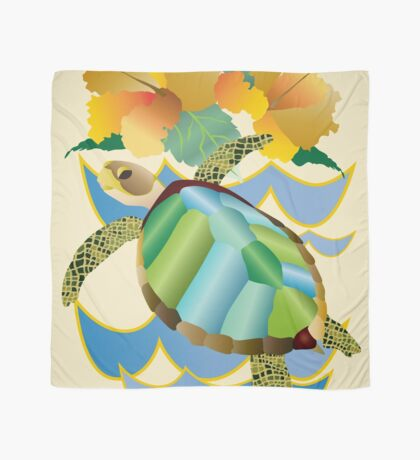 Pretty Sea Turtle Tropical Yellow Hibiscus Flowers Scarf