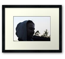 Young man. Spring night. Having fun with the photographer. Framed Print
