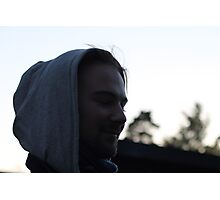 Young man. Spring night. Having fun with the photographer. Photographic Print