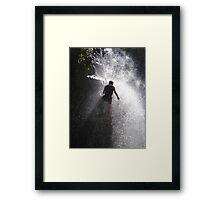 Nick Dale abseiling down a Kenyan waterfall Framed Print