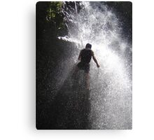 Nick Dale abseiling down a Kenyan waterfall Canvas Print