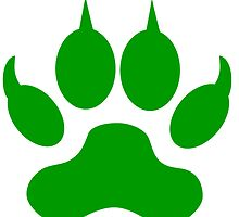 Green Wolf Paw Print by kwg2200