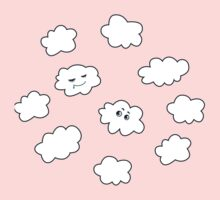 Blue Sky Happy Funny Clouds  One Piece - Short Sleeve