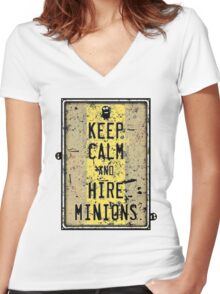 Keep Calm And Hire Minions Women's Fitted V-Neck T-Shirt