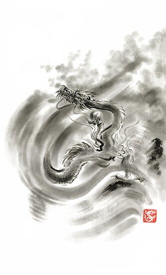 Wind dragons sumi-e ink painting dragons art by Mariusz Szmerdt