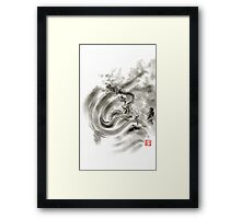 Wind dragons sumi-e ink painting dragons art Framed Print