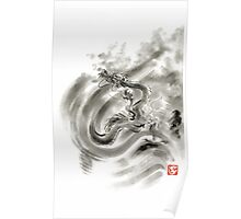 Wind dragons sumi-e ink painting dragons art Poster