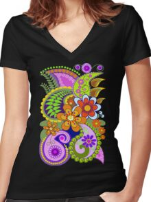 Retro Paisley Patterns and Decorative Flowers Women's Fitted V-Neck T-Shirt