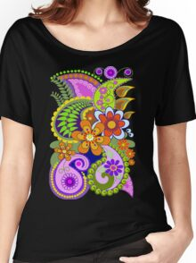 Retro Paisley Patterns and Decorative Flowers Women's Relaxed Fit T-Shirt