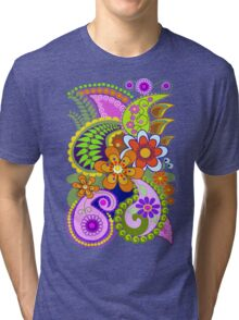 Retro Paisley Patterns and Decorative Flowers Tri-blend T-Shirt