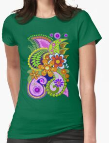 Retro Paisley Patterns and Decorative Flowers Womens Fitted T-Shirt