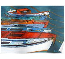 Boats in a Row, Methoni, Greece Poster