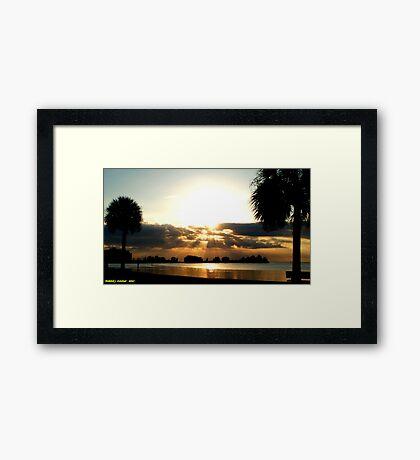 Golden Sunset Rays Framed Print