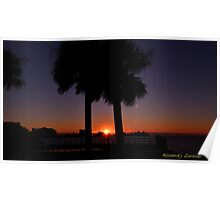 Sunset Between The Palms Poster