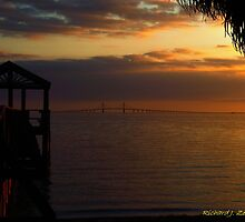 Sunshine Skyway At Sunset by Zzenco