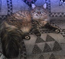 Long Haired Grey Tabby Cat Portrait by Oldetimemercan