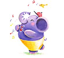 Drummer - Rondy the Elephant using his belly like a drum Photographic Print