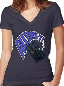 """""""Allons-Y!"""" - 10th Doctor Women's Fitted V-Neck T-Shirt"""