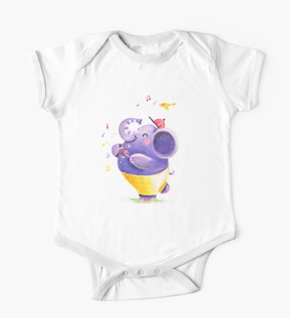Drummer - Rondy the Elephant using his belly like a drum One Piece - Short Sleeve