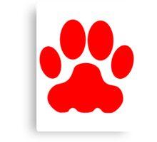 Red Big Cat Paw Print Canvas Print