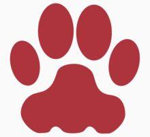 Red Big Cat Paw Print T-Shirt