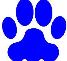 Blue Big Cat Paw Print by kwg2200