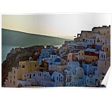 Town Oia on the Greek island of Santorini Poster