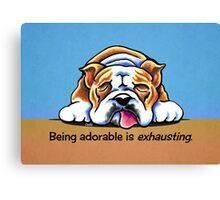 Being Adorable Bulldog Blue Canvas Print