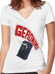 """""""Geronimo!"""" The 11th Doctor Women's Fitted V-Neck T-Shirt"""