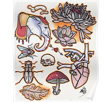 tattoo flash, elephant, anatomical heart, mushroom, beetle....circus colors Poster