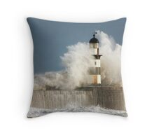 Waves Crashing Into A Lighthouse Throw Pillow