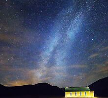 Classic Old Yellow School House Milky Way Sky by Bo Insogna