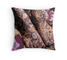 Womans Feet With Henna Throw Pillow