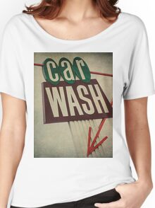 Vintage Car Wash Sign  Women's Relaxed Fit T-Shirt