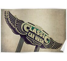 Flying Wings Classic Car Wash Sign Poster