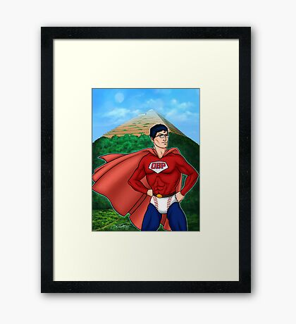 Saber Boy and the Temple of Stats Framed Print
