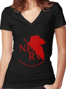 NERV Red Logo Women's Fitted V-Neck T-Shirt