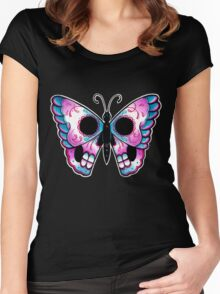 Sugar Skull Butterfly Tattoo Flash Women's Fitted Scoop T-Shirt